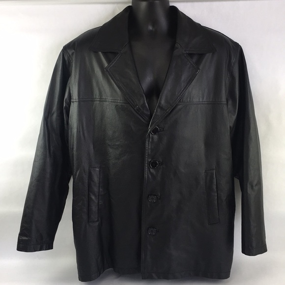 Usa Leather Jackets Coats Mens Black Leather Dress Coat Size 50r
